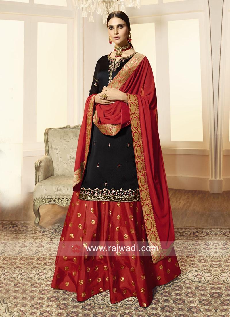 Semi Stitched Lehenga Style Salwar Suit