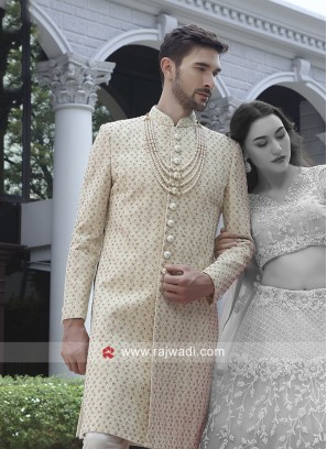 Charming Cream Color Sherwani For Wedding