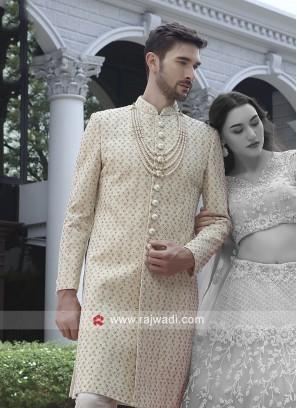 Charming Cream Color Sherwani For Wedding