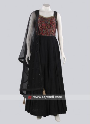 Black Silk and Chiffon Fabric Anarkali Suit