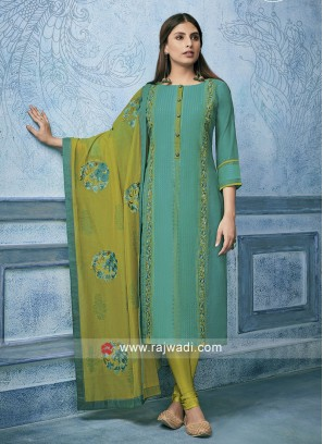 Resham Work Rama Green Churidar Suit