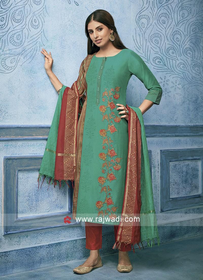 Cotton Silk Resham Work Suit