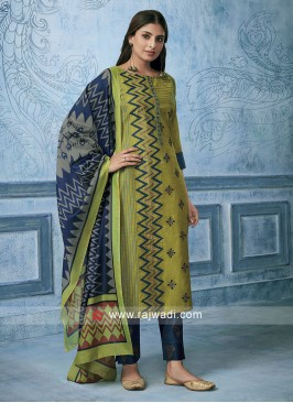 Cotton Silk Printed Suit