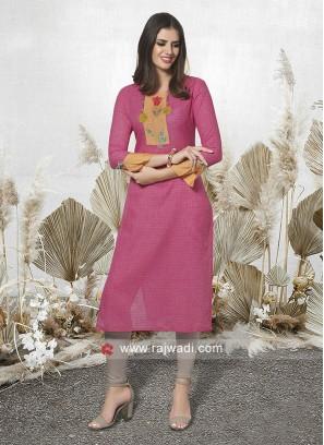 Cotton Rayon Thread Work Kurti