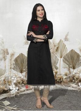 Casual Black Cotton Kurti