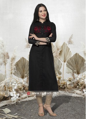 Casual Black Cotton Kurti