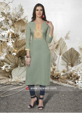 Pista Green Cotton Straight Fit Kurti