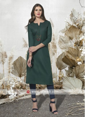 Bottle Green Cotton Kurti