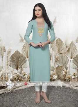 Sky Blue Straight Fit Kurti