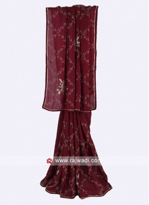 Burgundy color crepe silk saree