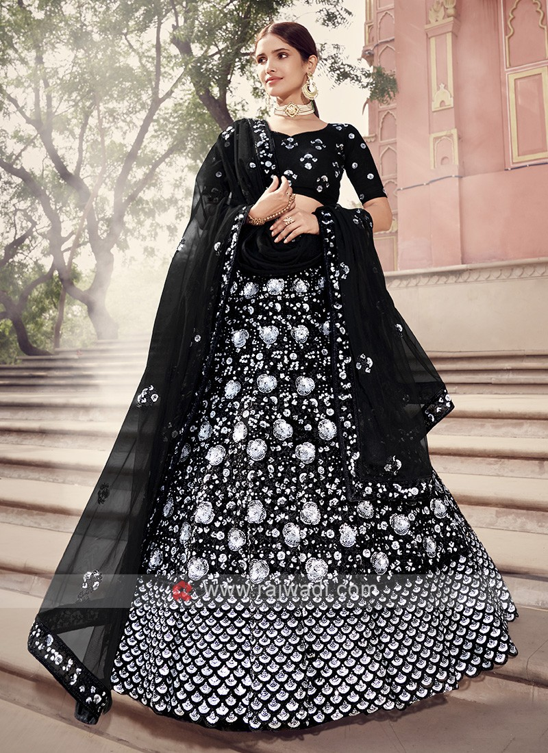 Net Lehenga Choli In Black