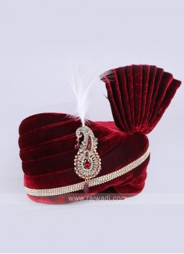 Wedding Wear Velvet Maroon Safa