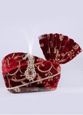 Velvet fabric Maroon safa