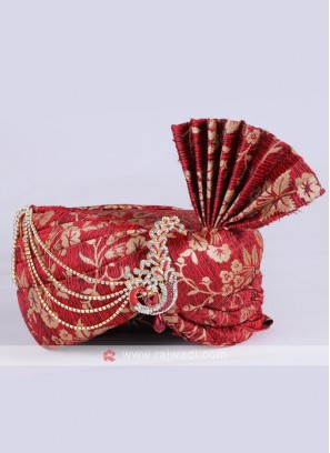 Brocade Silk Red Safa.