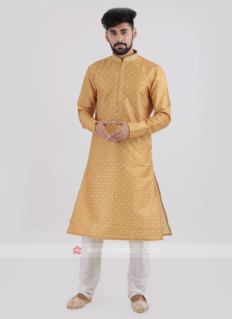 Art Silk Mustard Yellow Kurta Pajama