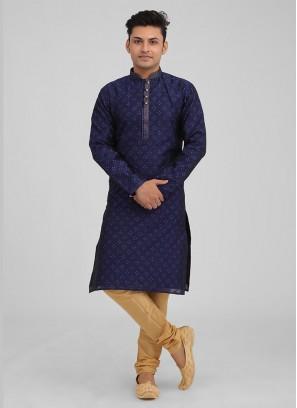 Brocade Silk Kurta Pajama In Navy Blue