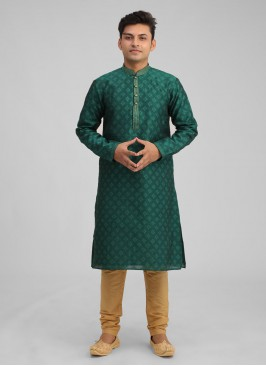 Green Brocade Silk Kurta Pajama