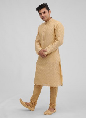 Brocade Silk Golden Color Kurta Pajama