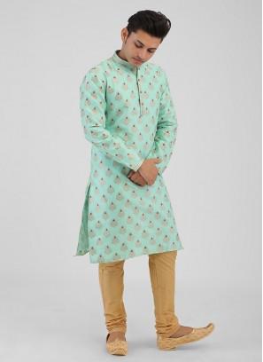 Brocade Silk Sea Green Color Kurta Pajama