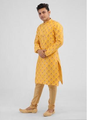 Yellow And Golden Printed Kurta Pajama