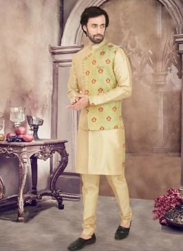 Elegant Golden Green Color Nehru Jacket