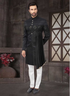 Nawabi Style Indo-Western In Black Color