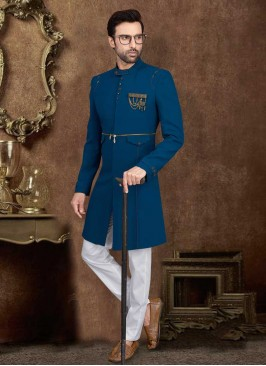 Stylish Teal Blue Color  Indo-Western