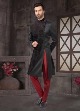 Satin Silk  Indo-Western In Black