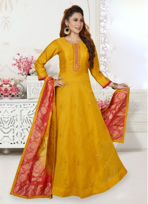 Mustard Yellow Anarkali Suit For Wedding