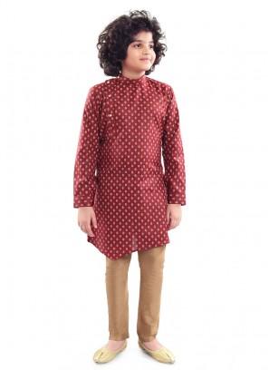 Cotton Printed Kurta Pajama In Maroon