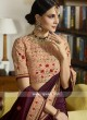 Maroon Embroidered Saree with Peach Blouse