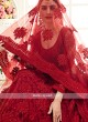red color net lehenga choli