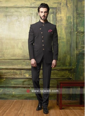 Party Wear Jodhpuri Suit In Black