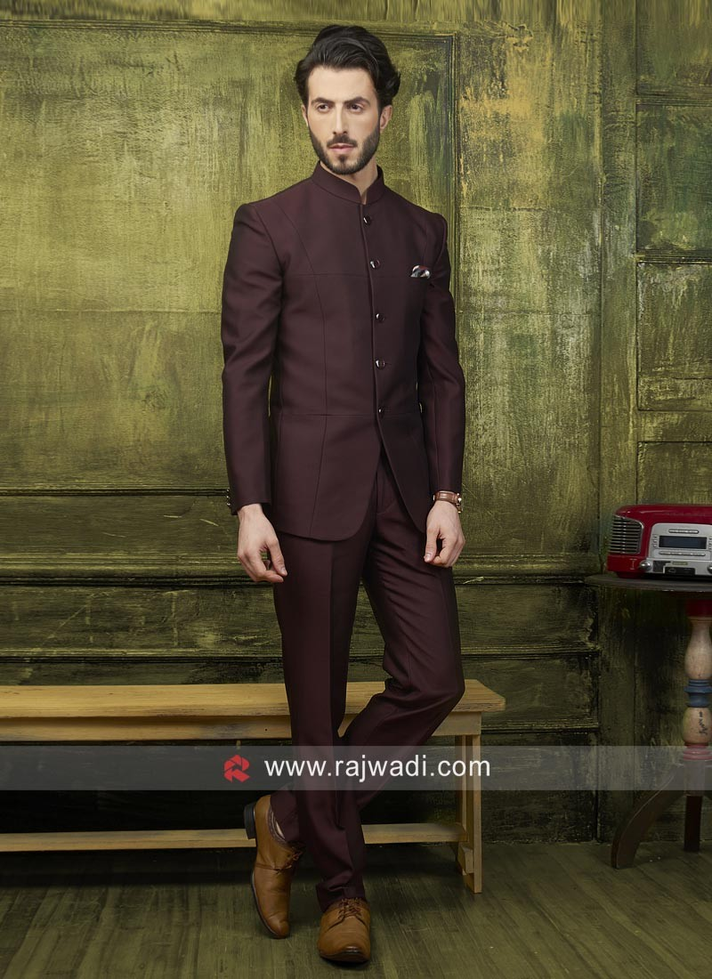 0b6333c29f Wine Color Jodhpuri Suit