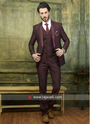 Wine Color Suit With Matching Trouser Material