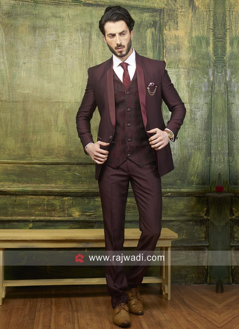 41377b86ac Wine Color Suit With Matching Trouser Material. Hover to zoom