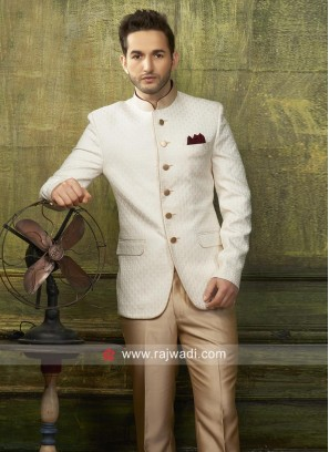Charming Emboss Fabric Jodhpuri Suit