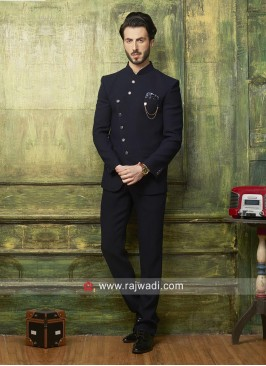 Marvelous Black Color Jodhpuri Set