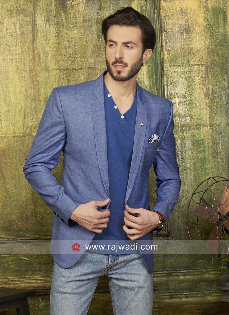Sky Blue Cotton Fabric Blazer