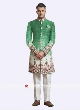 Attractive Green and White Color Sherwani