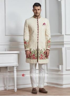 Chikan Fabric Off White Sherwani