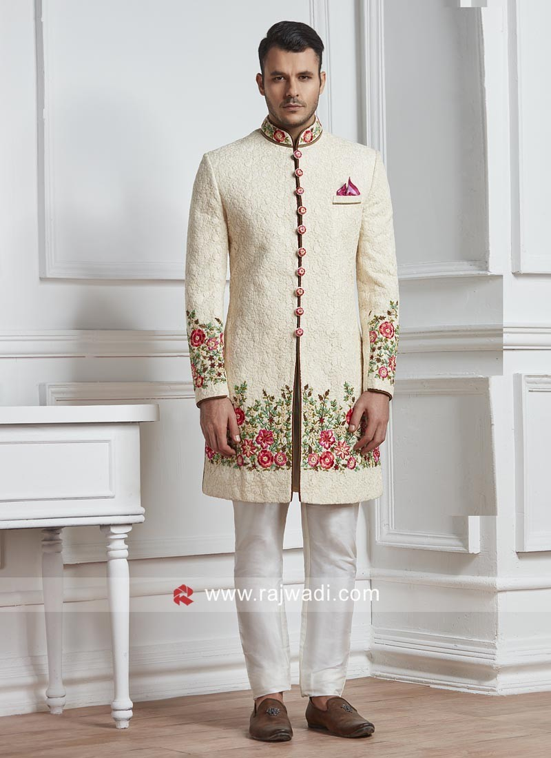 Chikan Fabric Off White Sherwani