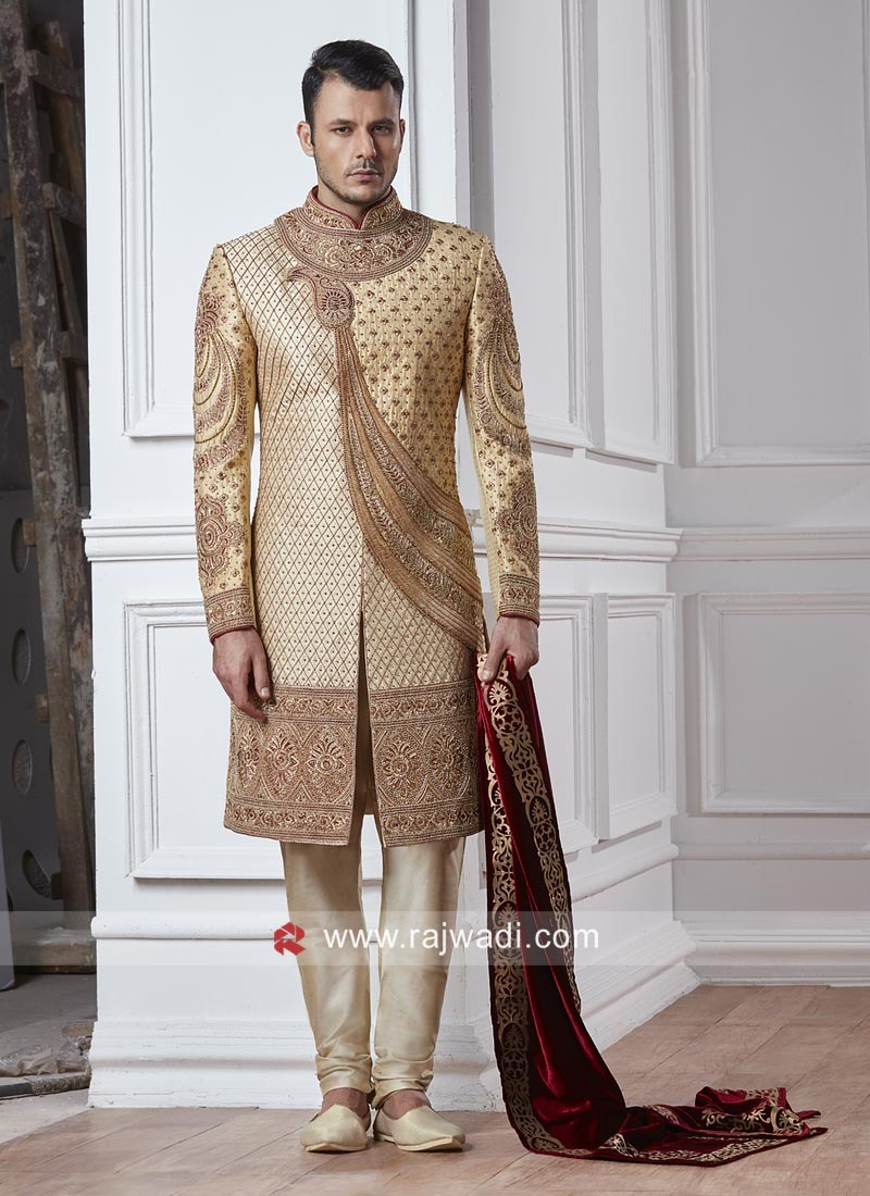 Groom Silk Fabric Sherwani