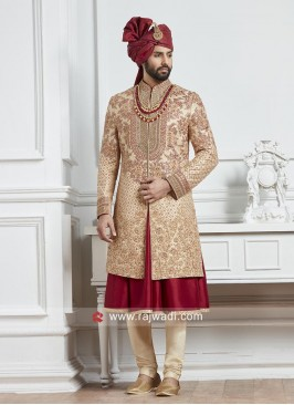 Attractive Heavy Embroidery work Silk Sherwani