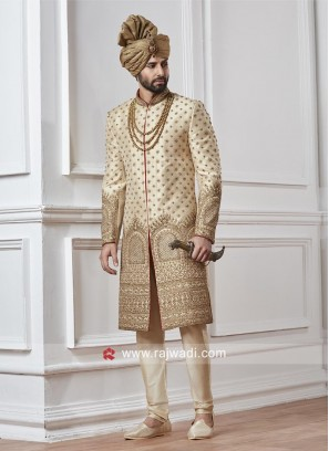 Designer Wedding Cream Sherwani