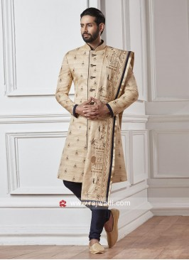 Designer Silk Sherwani With Stylish Dupatta