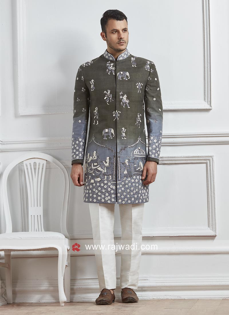 Stylish Grey Color Sherwani For Wedding