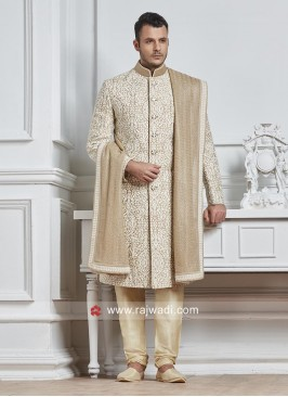 Groom Golden Sherwani With Dupatta