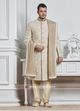 Groom Golden Sherwani With Dupatta