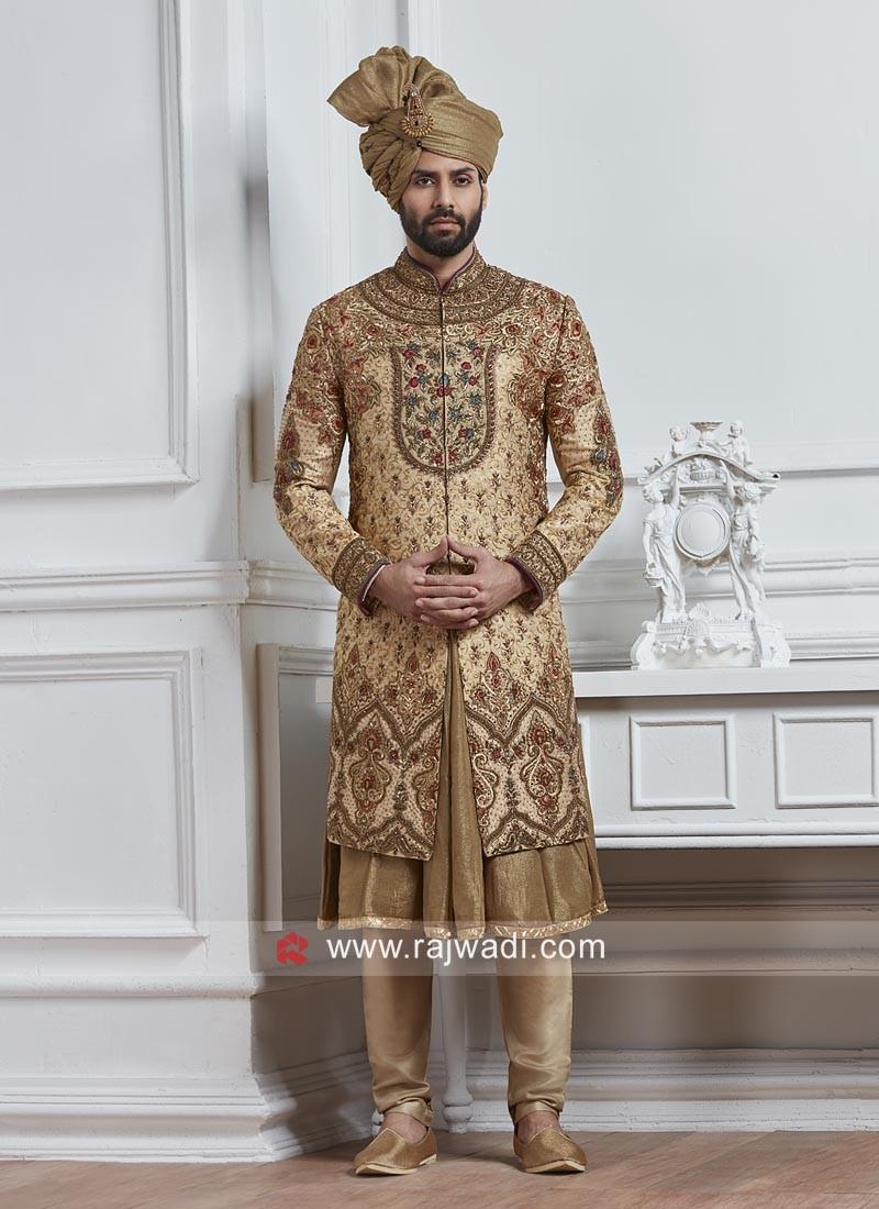 Designer Golden Color Sherwani